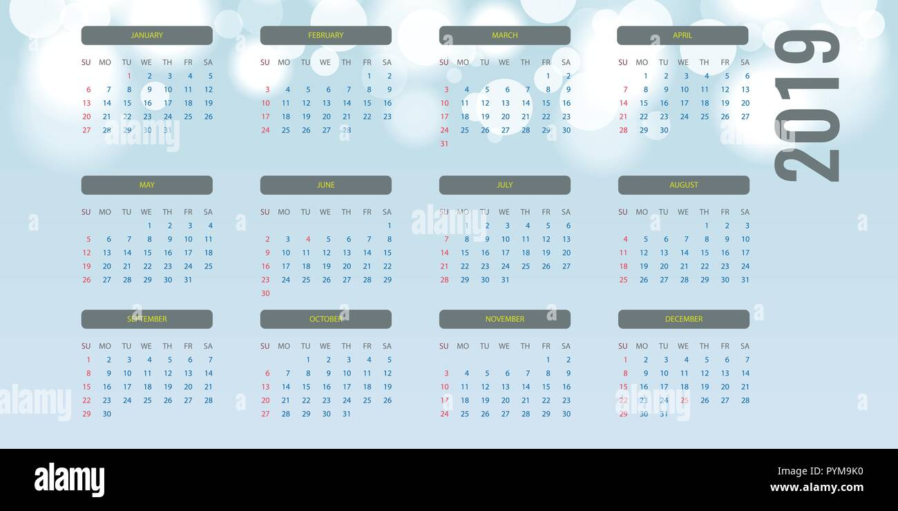 Illustration Calendrier.Simple Calendar Layout For 2019 Year Bokeh Background