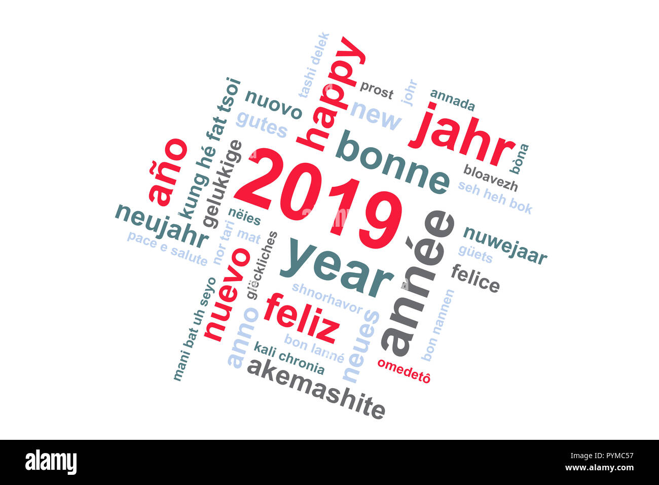 2019 new year multilingual text word cloud greeting card