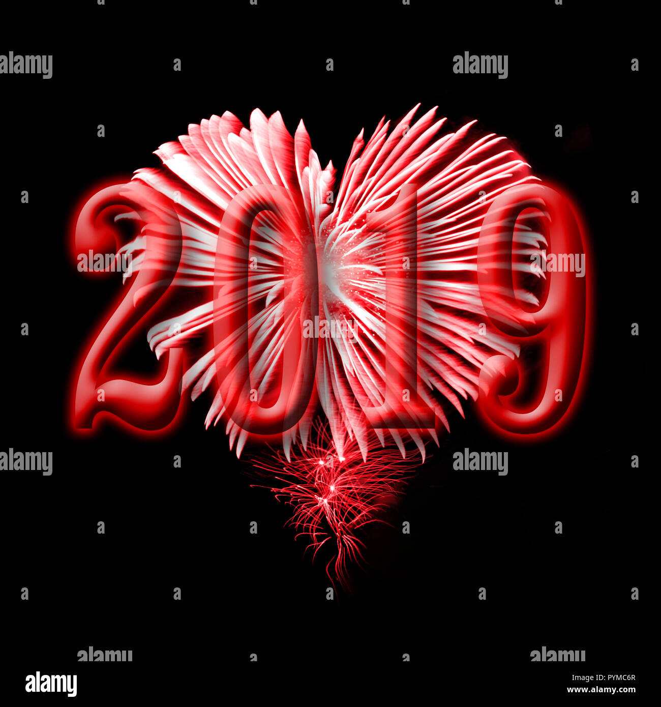 2016, red fireworks in the shape of a heart Stock Photo