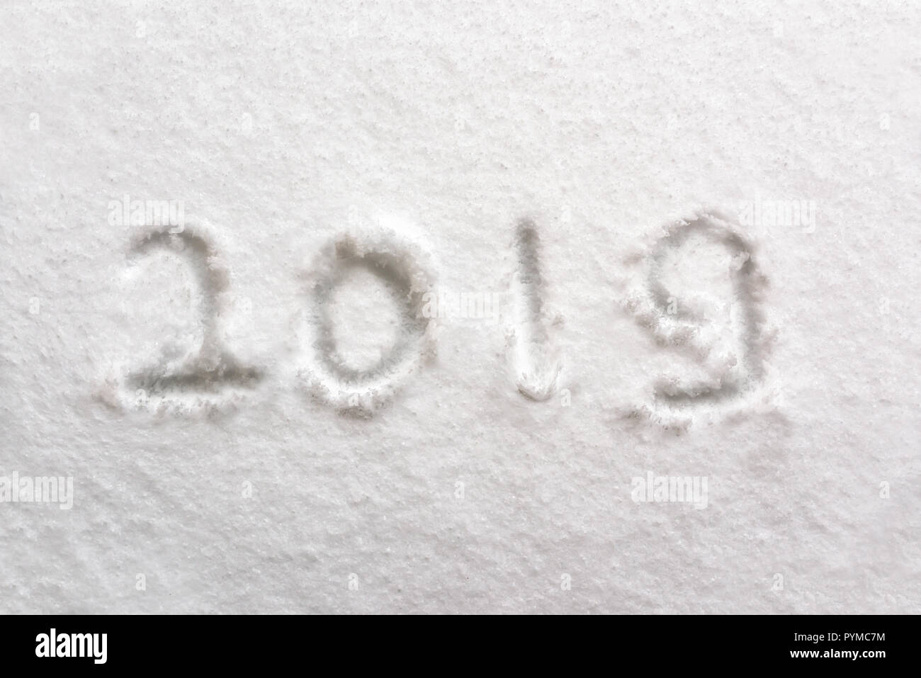 2019 written in the snow, holiday background - Stock Image