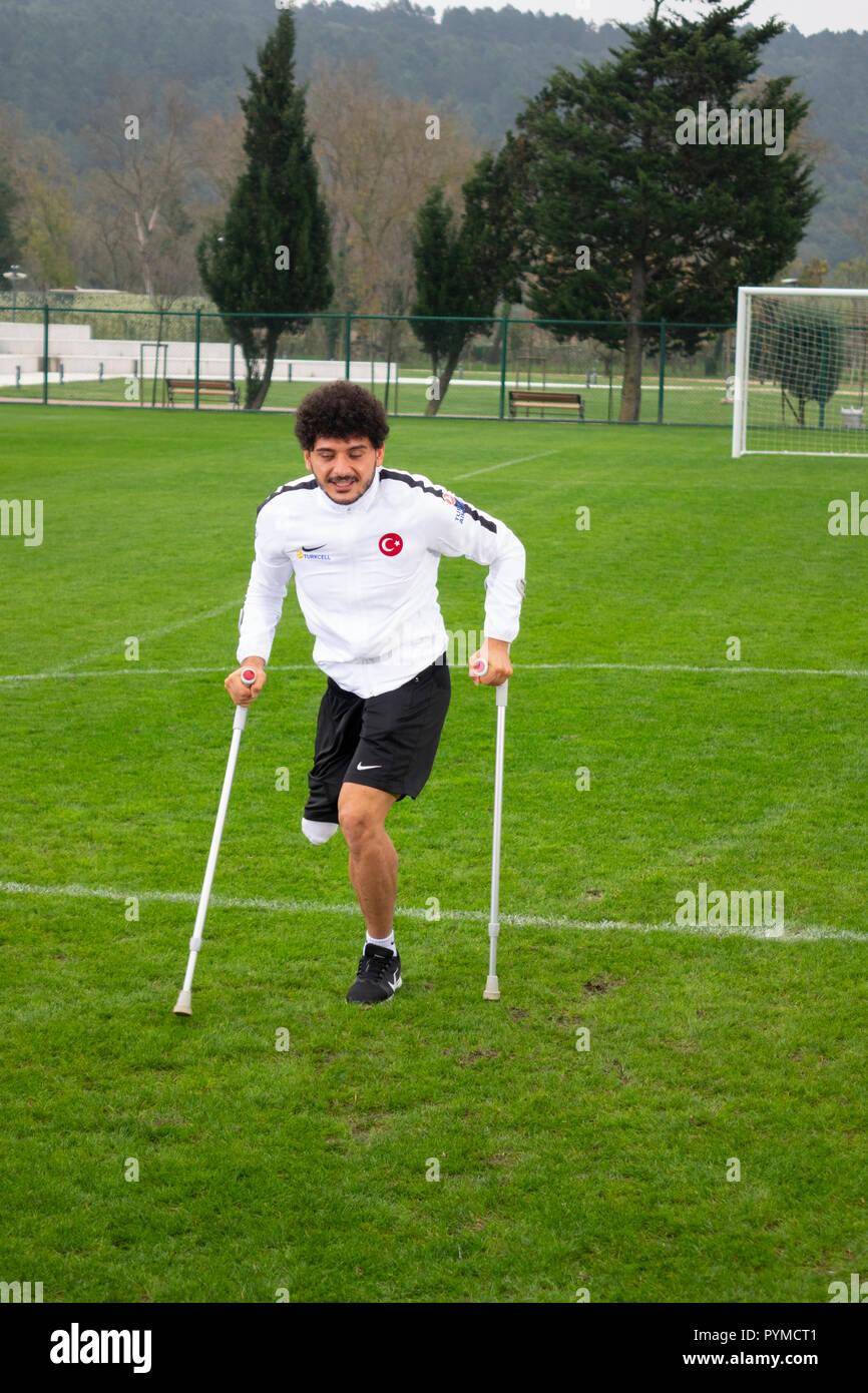 San Juan de los lagaos, Jalisco, Mexico - OCTOBER 23, 2018: Turkish amputee team player Baris telli is training for the world cup. - Stock Image