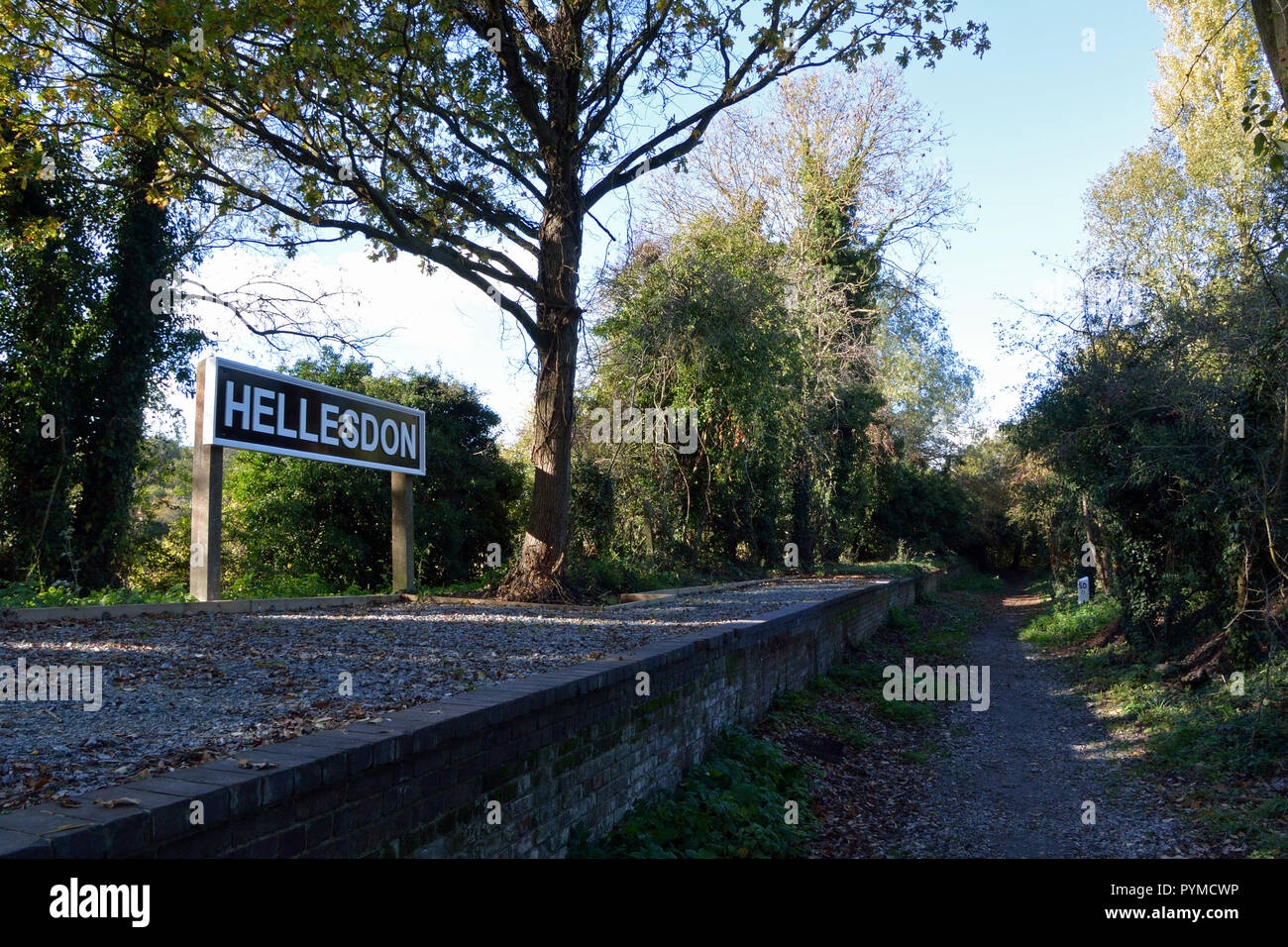 Newly renovated Hellesdon platform, on the old Midland and Great Northern railway, now on Marriott's Way long-distance footpath / cycleway Stock Photo