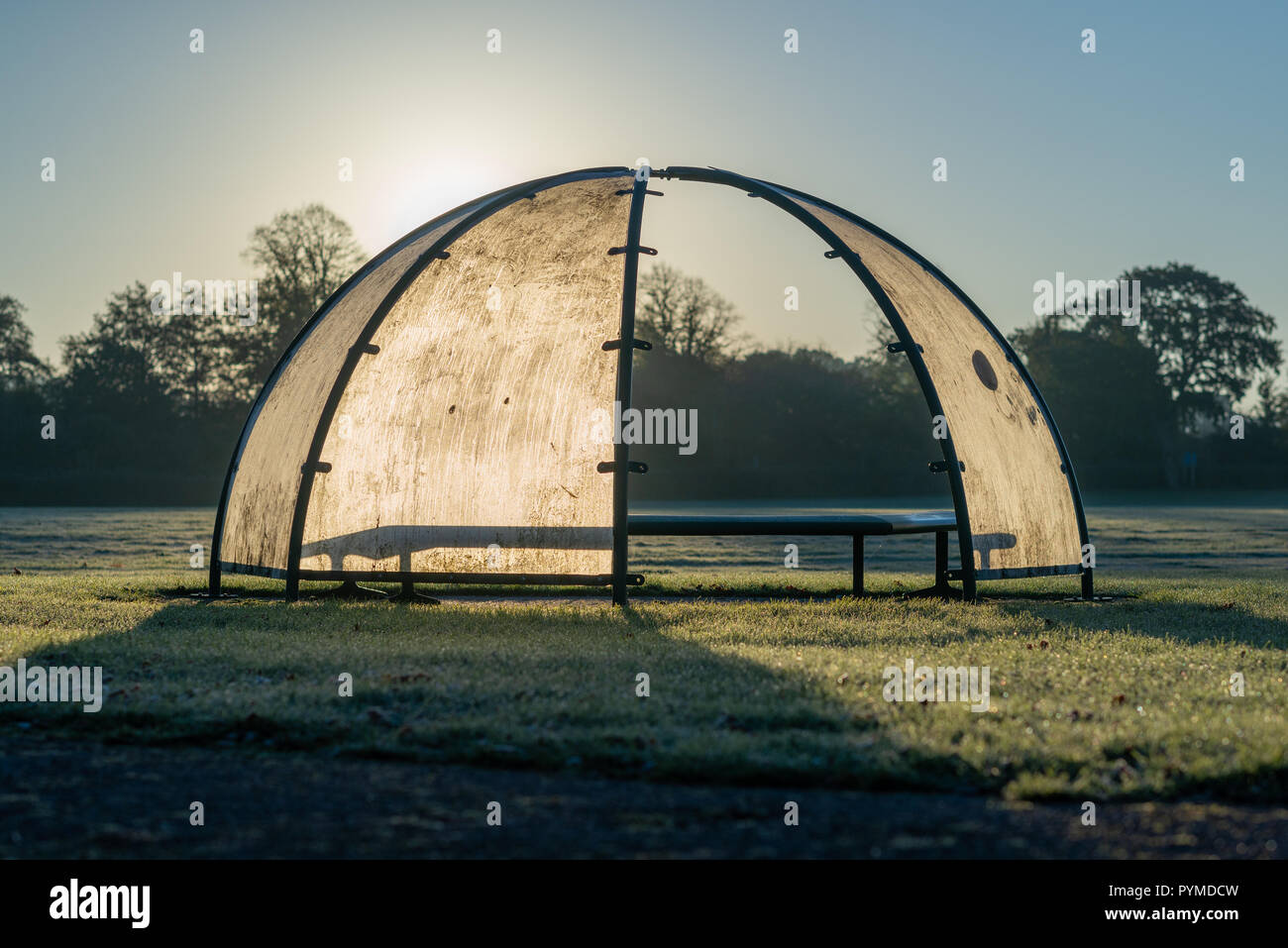 Dome shaped seat cover in a sports ground on a frosty morning, backlit by the rising sun. - Stock Image