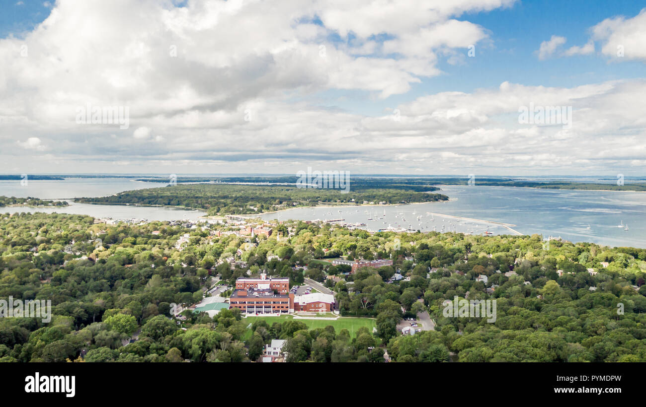 aerial view of sag harbor, NY - Stock Image