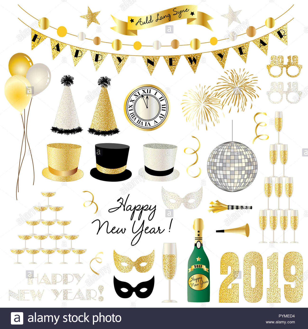 2019 new years eve clipart vector graphics - Stock Image