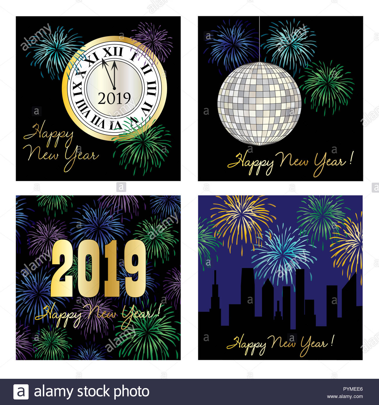 new years eve 2019 square vector graphics - Stock Image