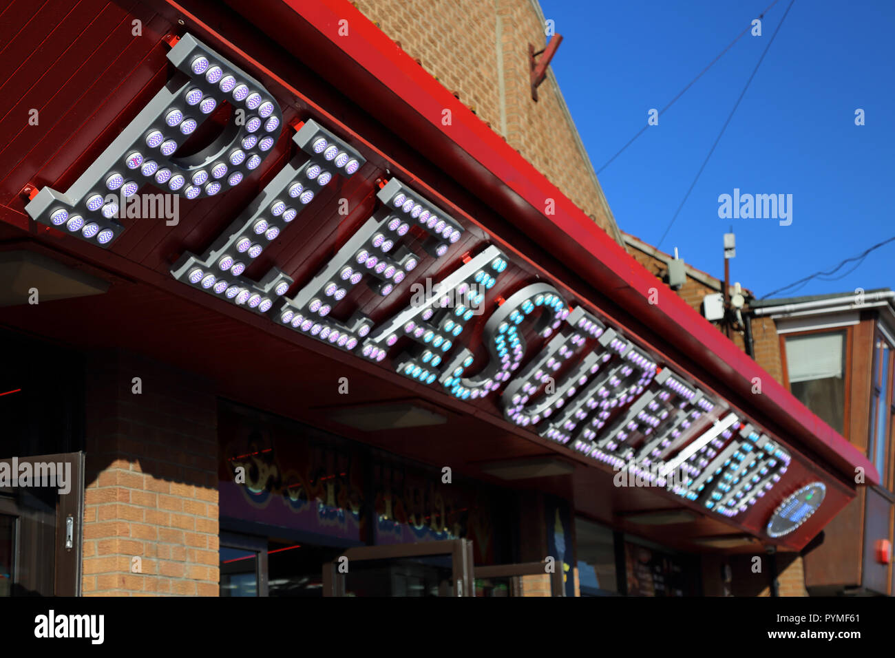 A view of Pleasureland, an amusement arcade in Whitby, North Yorkshire, England, UK. - Stock Image