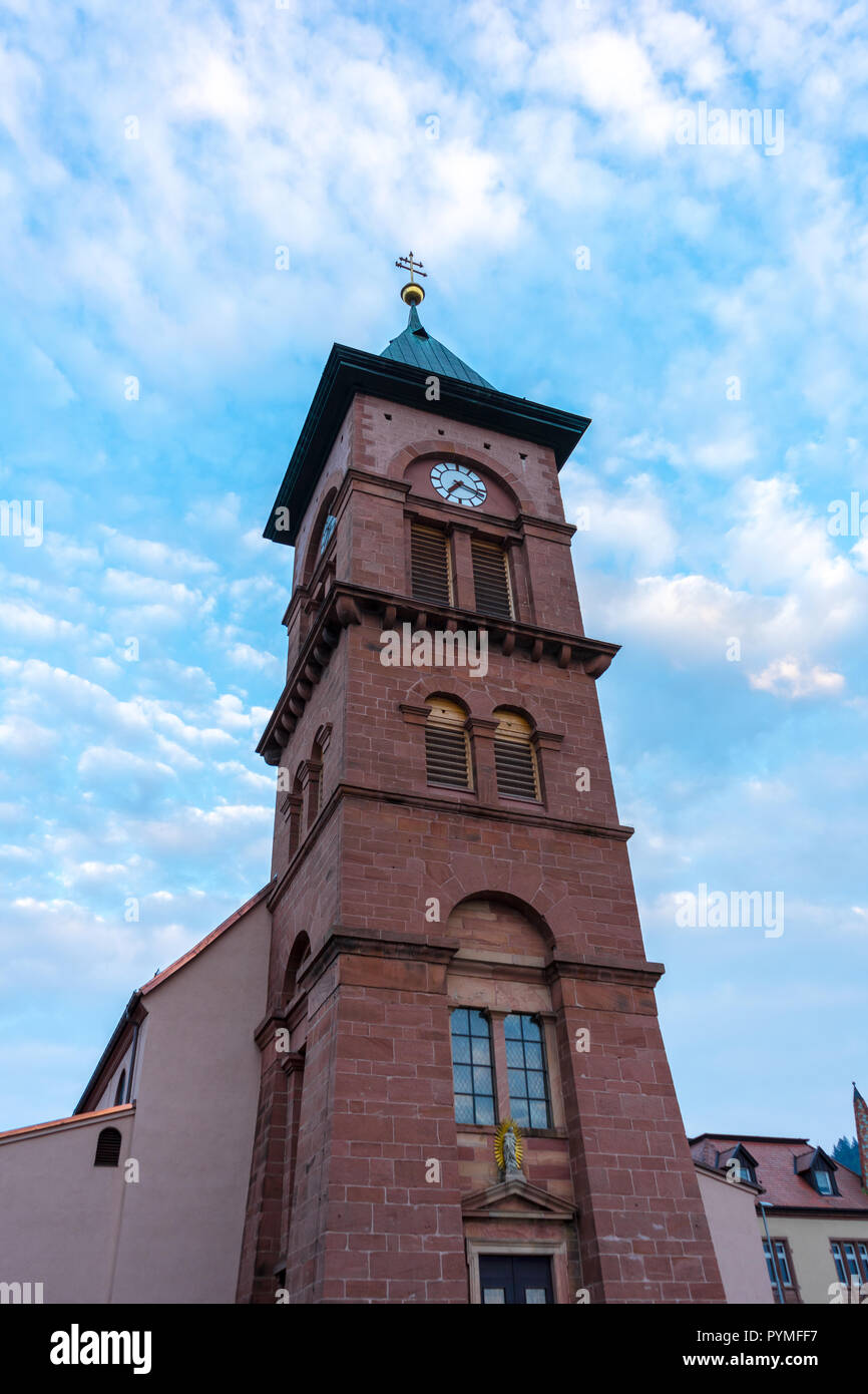 Germany, Beautiful red brick church building of village Elzach in black forest - Stock Image
