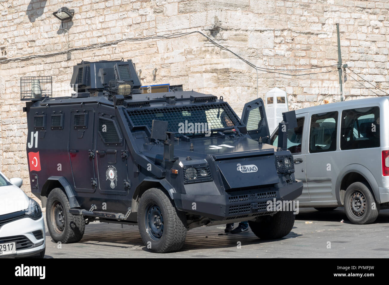 Istanbul, Turkey, September 2018: Martial armoured car of the Turkish police on Taksim Square in the centre of Istanbul. - Stock Image