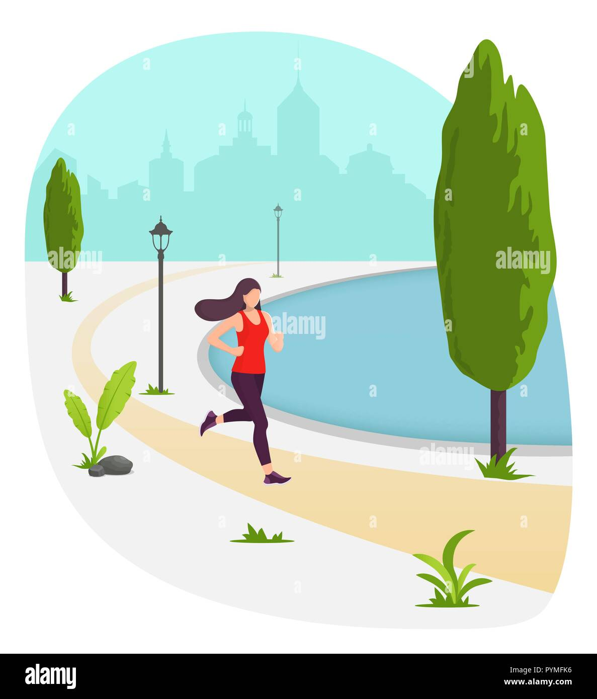 Young beautiful woman running in city park. Girl jogging. Park, plants, trees and street lamp. Vector illustration in modern flat style for banner, we - Stock Image