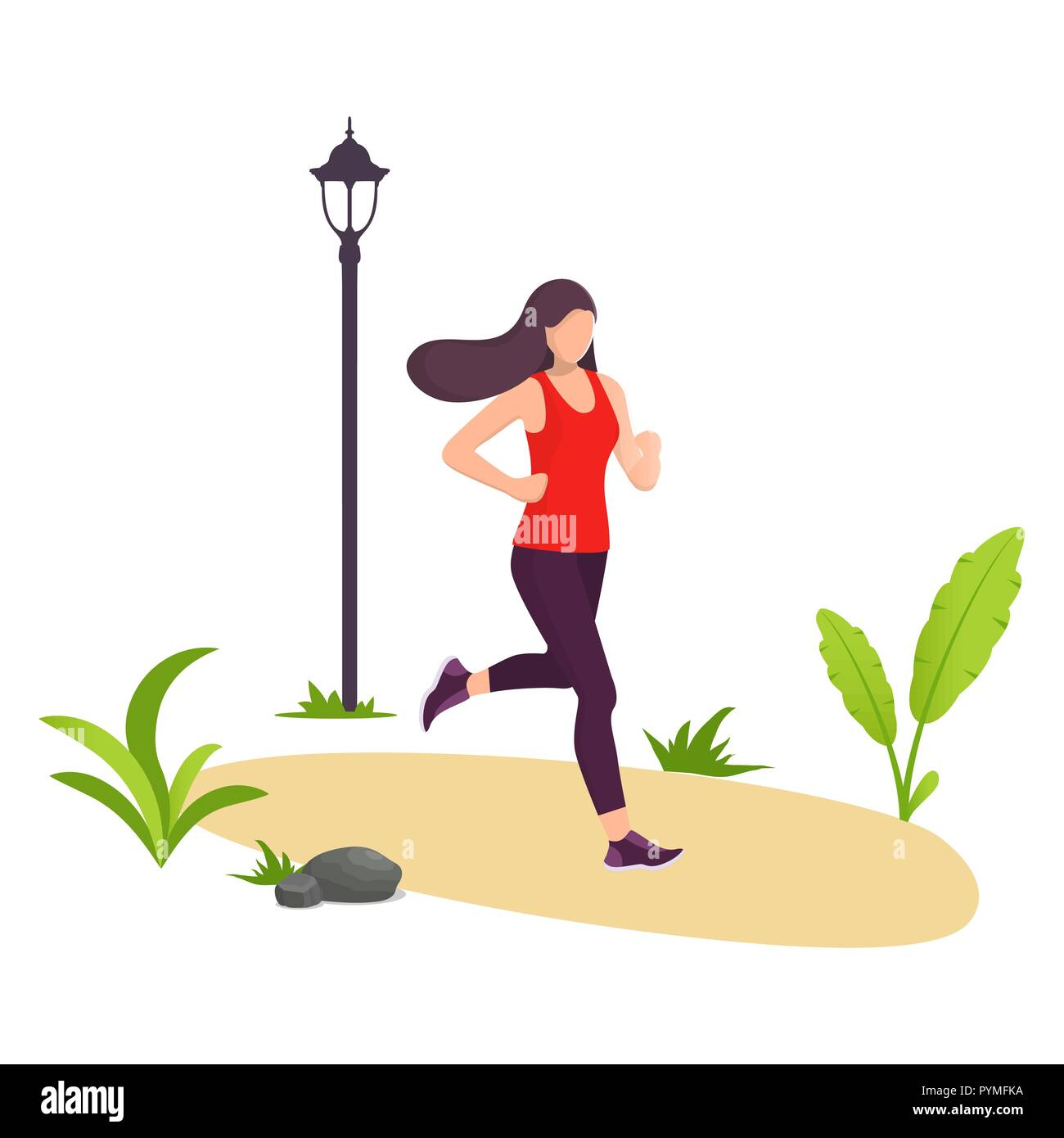Young beautiful woman running in city park. Girl jogging. Park, plants and street lamp. Vector illustration in modern flat style for banner, website o - Stock Vector