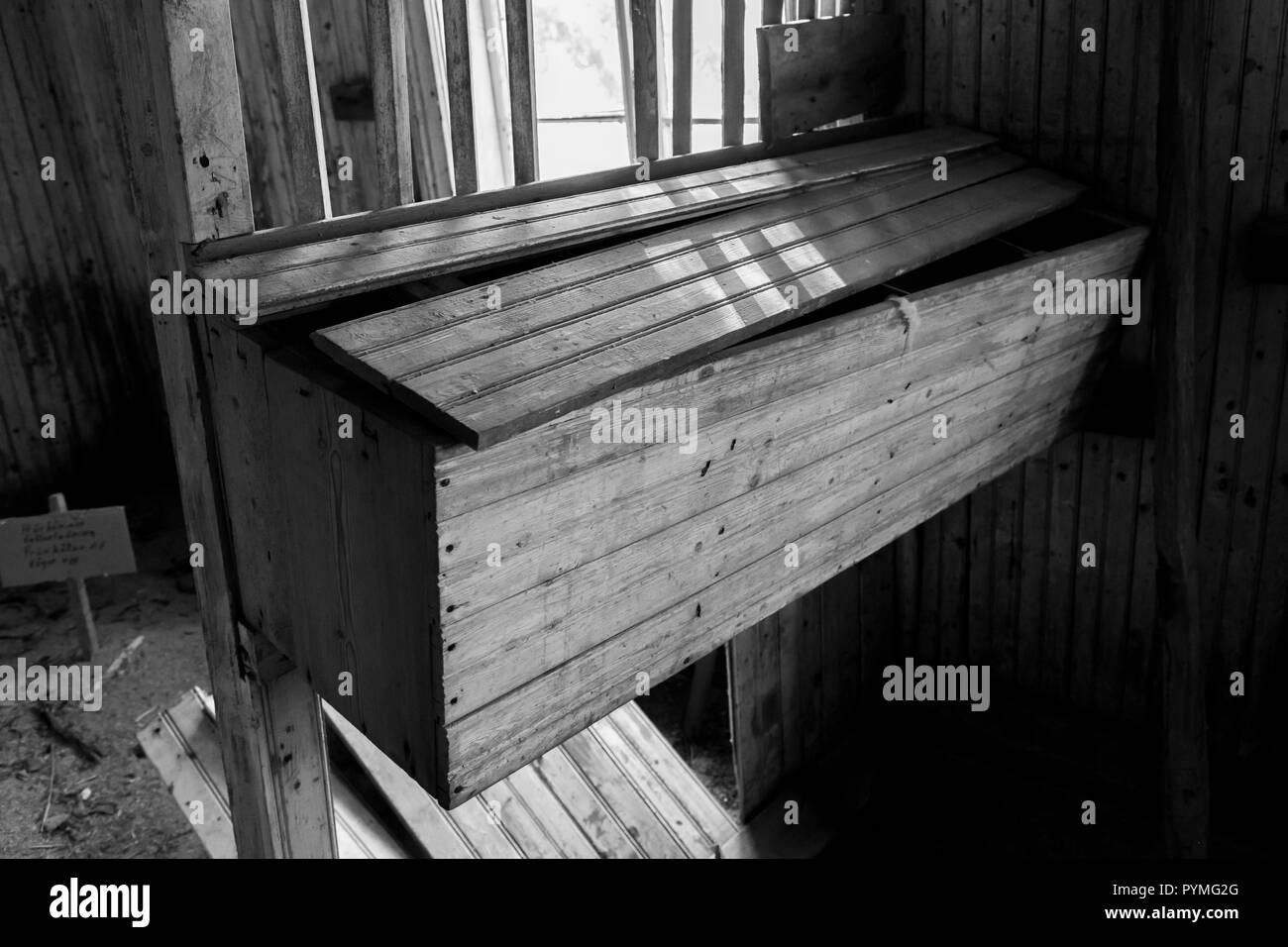 Chicken nesting boxes in an old Swedish farm in northern Sweden - Stock Image
