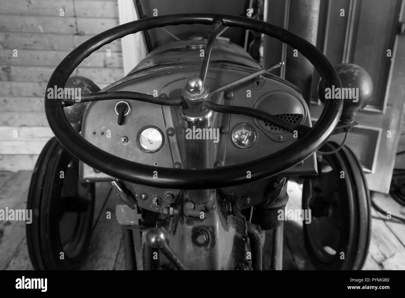Tractor Black And White Stock Photos Images Alamy Old Electrical Wiring Antique Farm In An Swedish Northern Sweden Image
