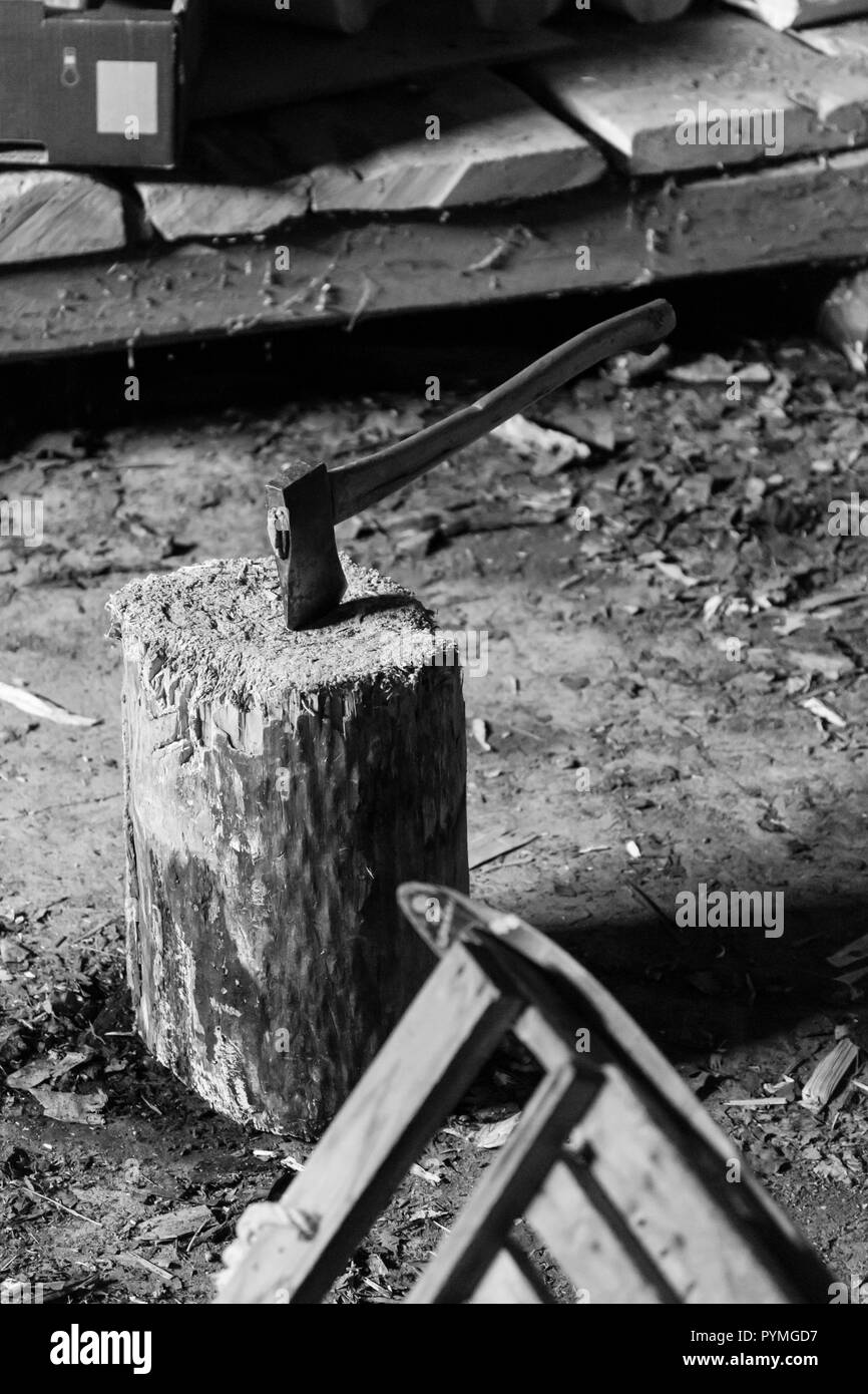 Axe and chopping block in a woodshed in an old Swedish farm in northern Sweden - Stock Image