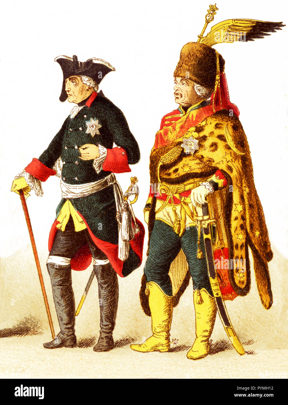 The Figures represented here are all Germans in 1700s and are, from left to right: an officer of dragoons, general of cuirrasiers, Frederick II, General Ziethen, officer of infantry of the guard. The illustration dates to 1882. - Stock Image