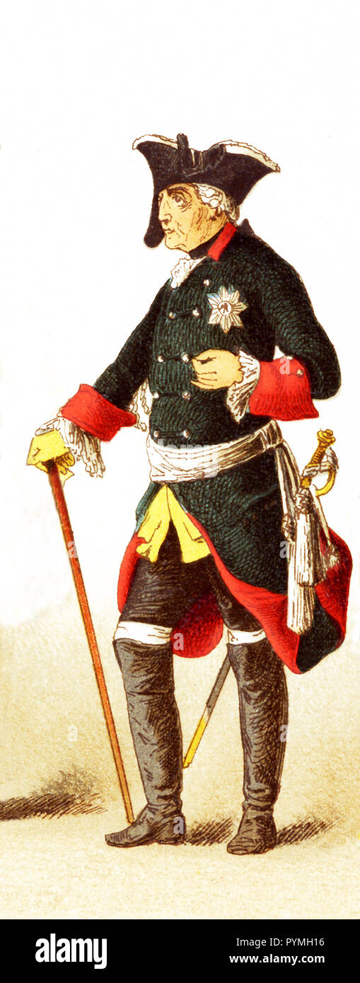 The Figure represented is Frederick II in the 1700s. The illustration dates to 1882. - Stock Image