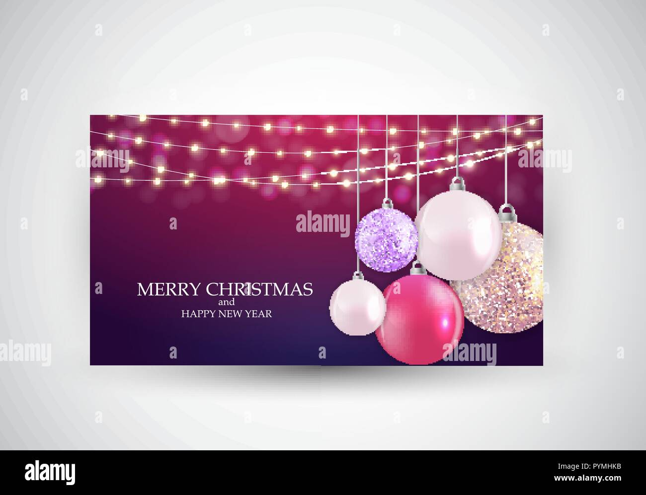 Merry Christmas Card Template Vector Illustration Stock Vector Art