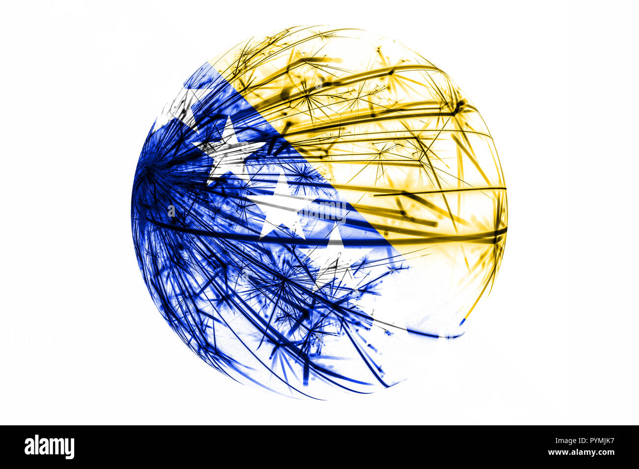 Abstract Bosnia and Herzegovina sparkling flag, Christmas ball concept isolated on white background - Stock Image