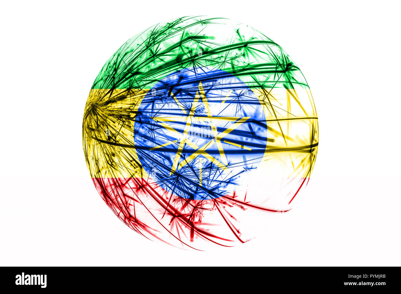 Abstract Ethiopia sparkling flag, Christmas ball concept isolated on white background - Stock Image