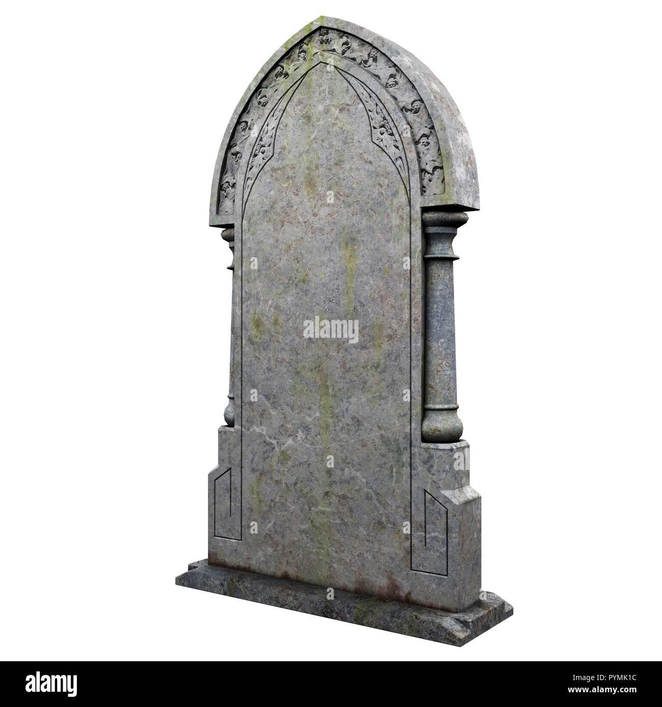 gravestone on the white background - Stock Image