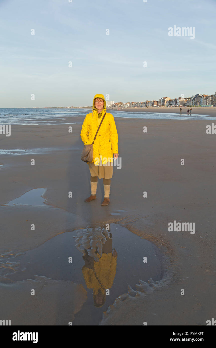 woman at the beach, Dunkirk, France - Stock Image