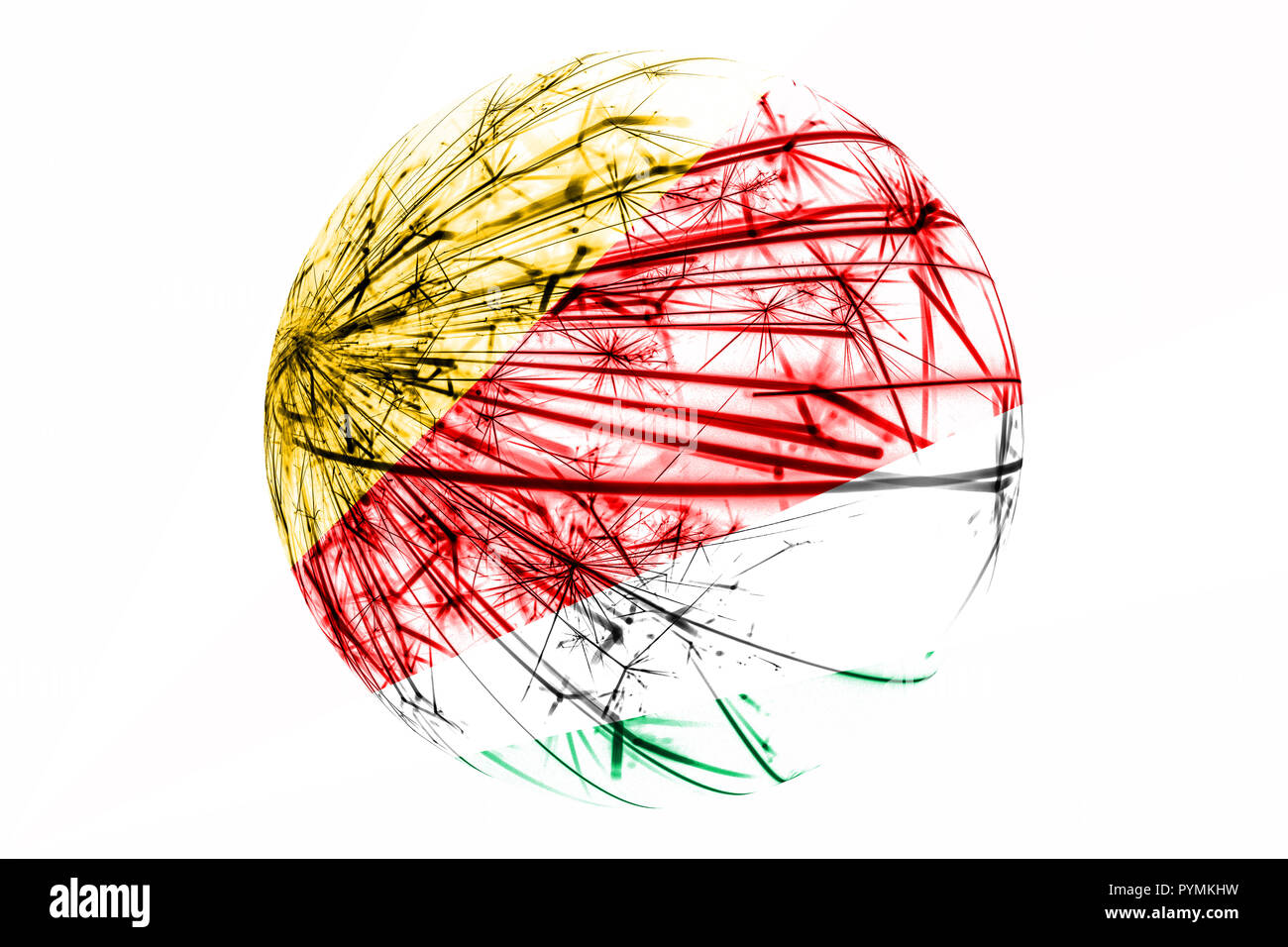 Abstract Seychelles sparkling flag, Christmas ball concept isolated on white background - Stock Image