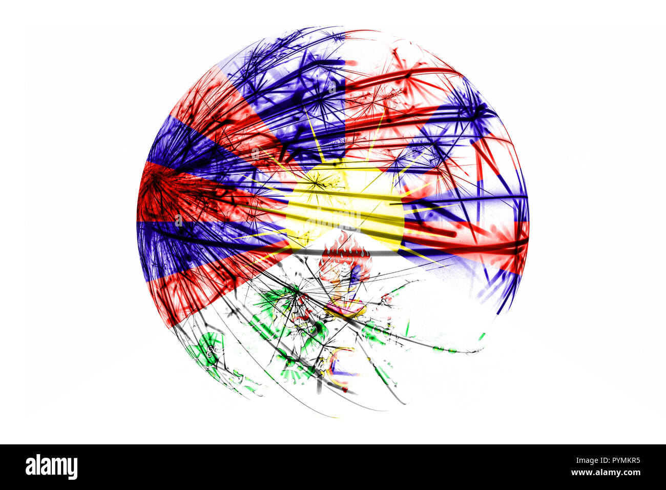 Abstract Tibet  sparkling flag, Christmas ball concept isolated on white background - Stock Image