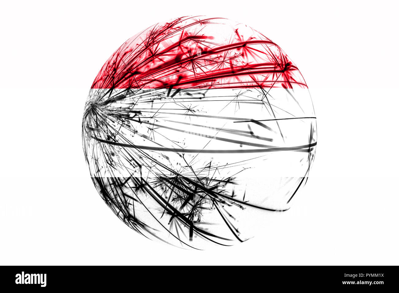 Abstract Yemen sparkling flag, Christmas ball concept isolated on white background - Stock Image