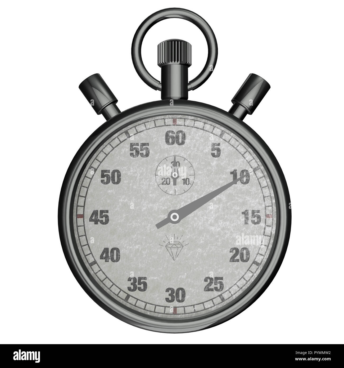 Analogue metal stopwatch - Stock Image