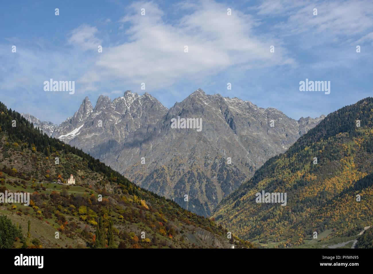 Caucasus mountain autumn landscape from the Svaneti region in Georgia Stock Photo