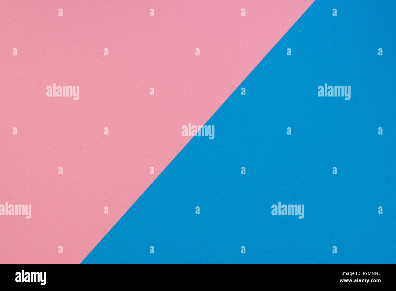 Blue and pink two tone diagonal devided color paper background - Stock Image