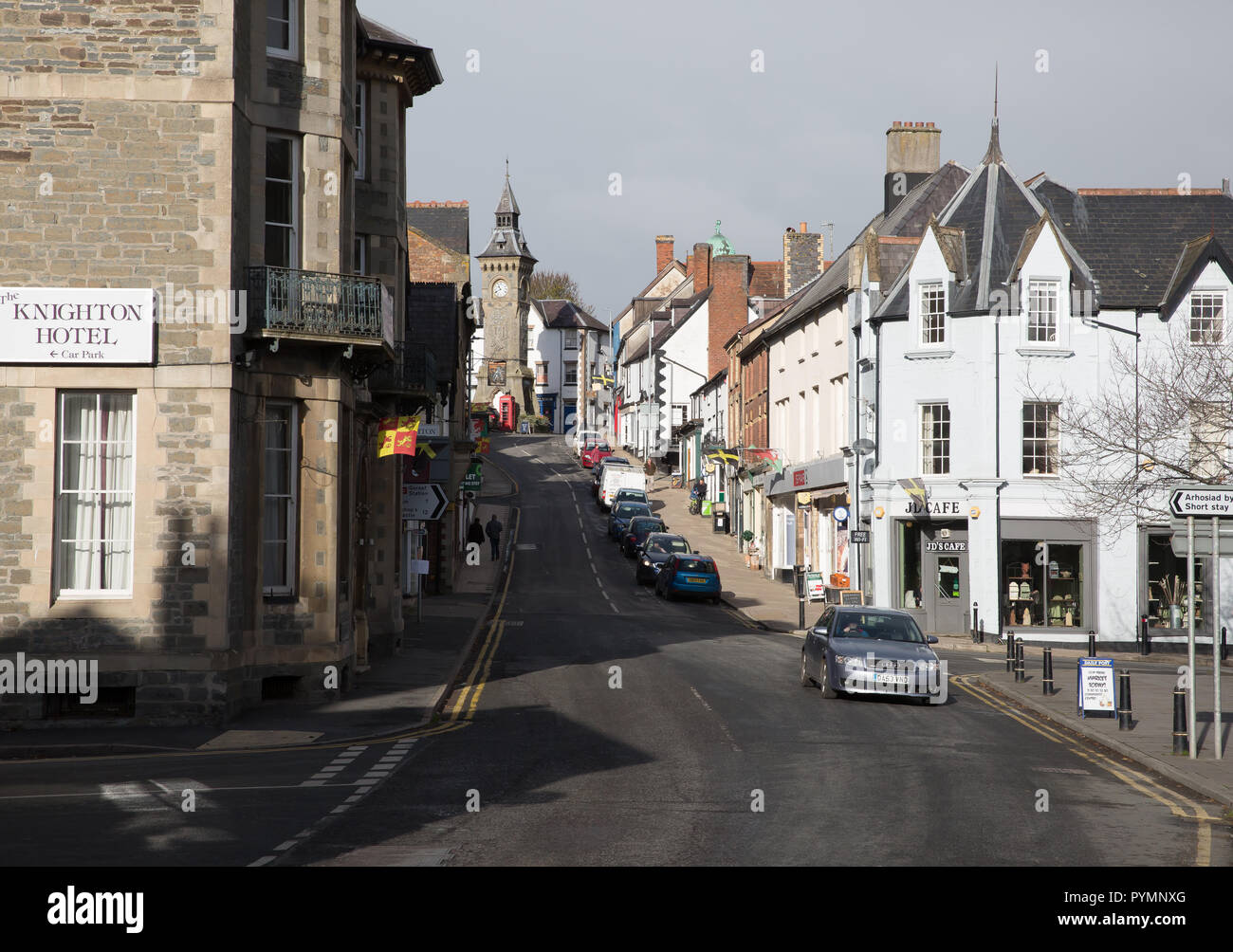 A view up the High Street in Knighton, Wales - Stock Image
