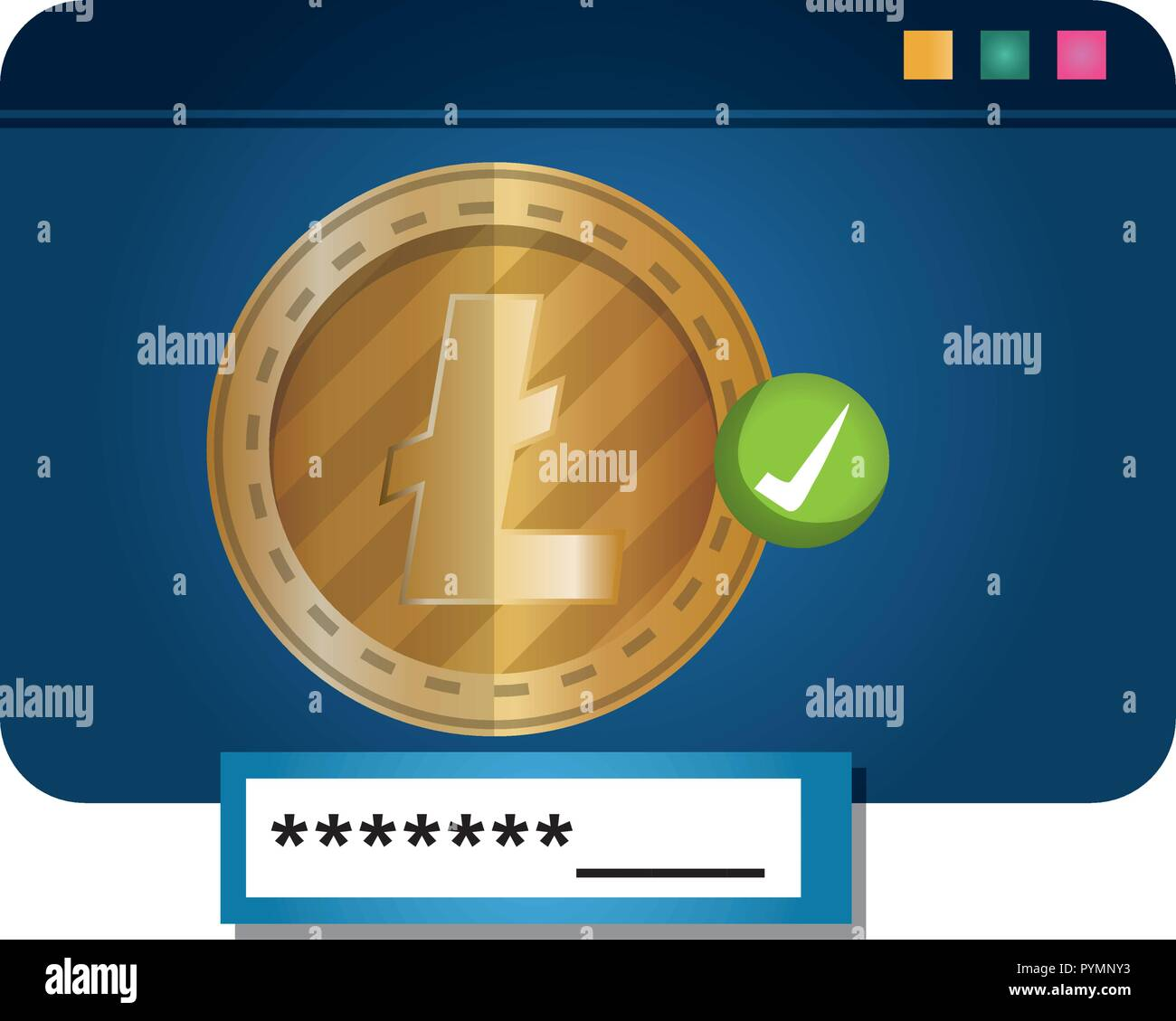 template webpage with litecoin vector illustration design - Stock Image