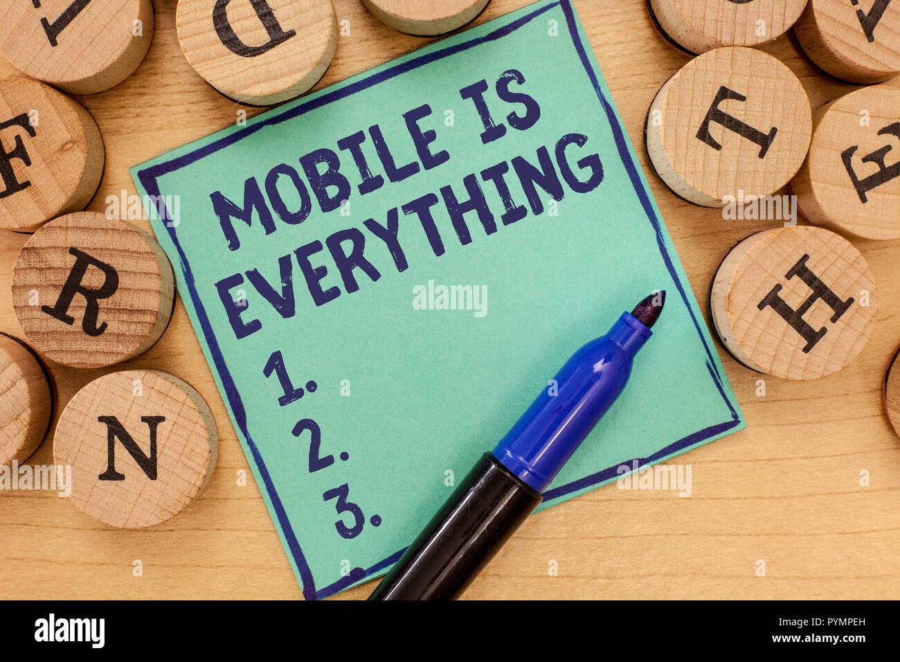 Handwriting text Mobile Is Everything. Concept meaning Handheld Computer Device a Planner Wallet Organizer. - Stock Image