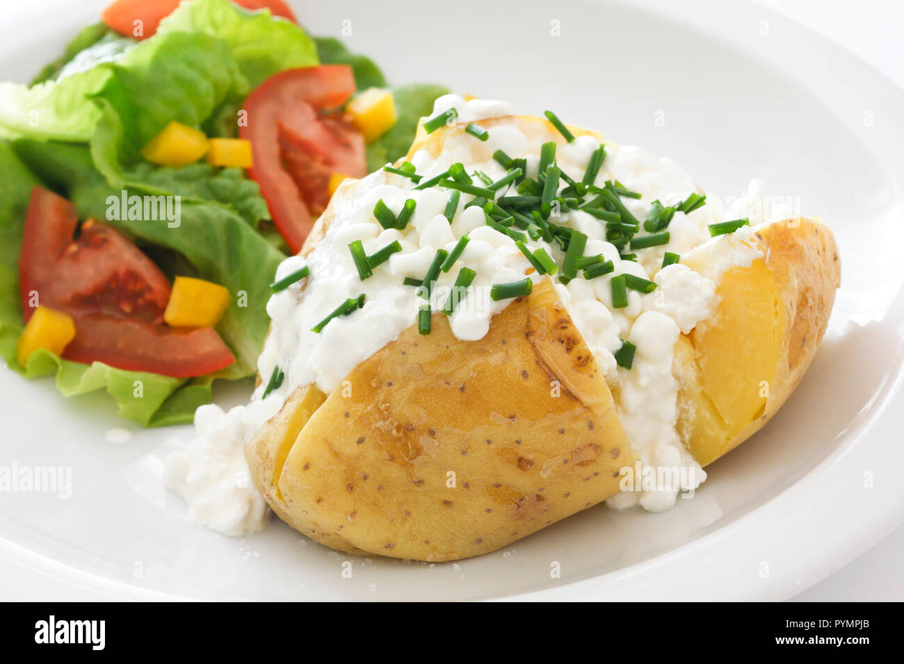 Fabulous Baked Potato With Cottage Cheese Chives And Fresh Salad On Interior Design Ideas Gentotryabchikinfo