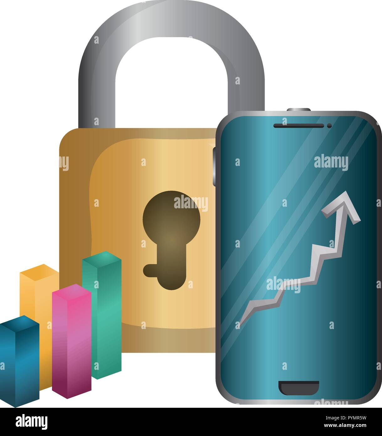 smartphone with padlock secure vector illustration design - Stock Vector