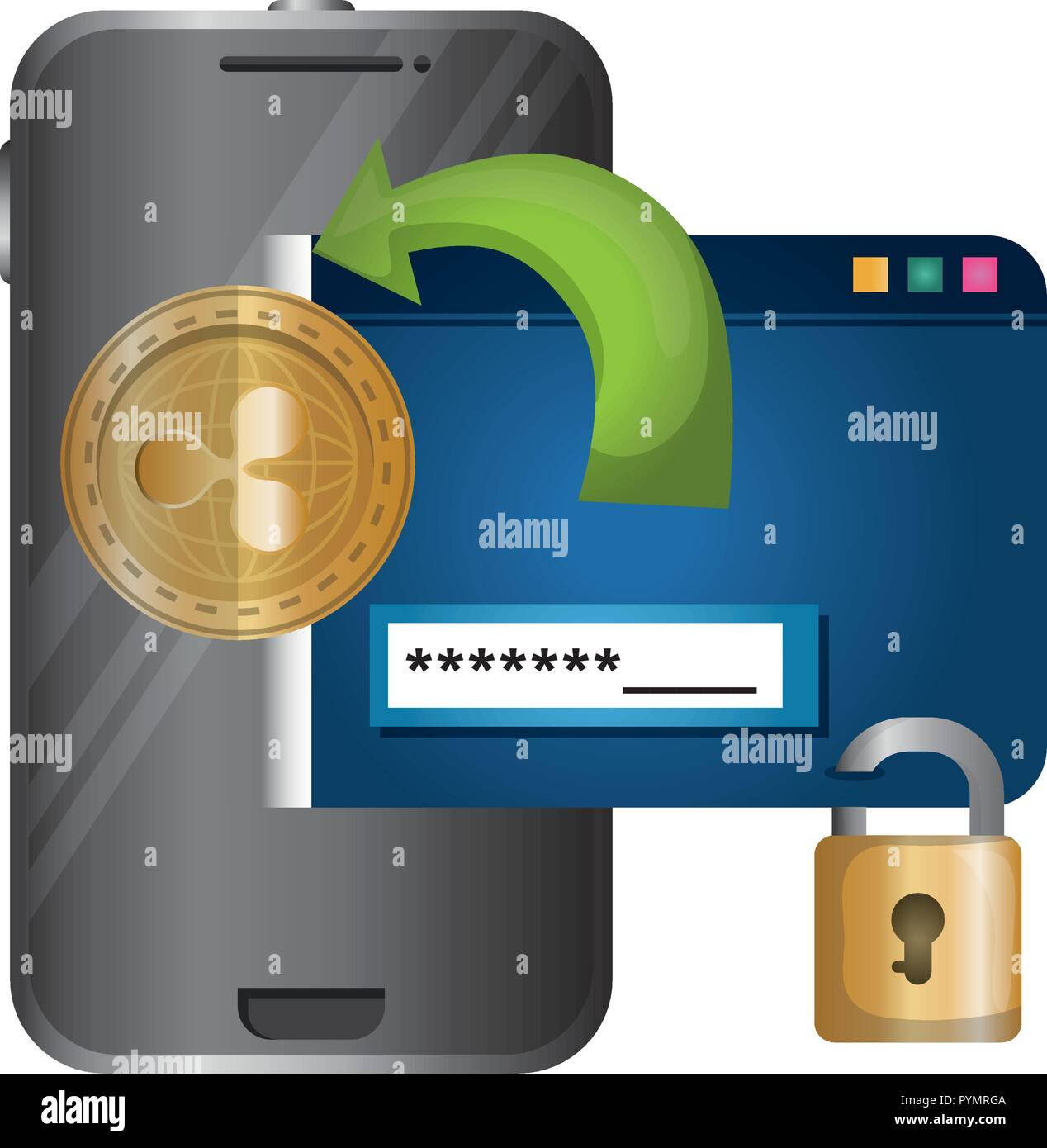 smartphone with padlock and webpage template vector illustration - Stock Image