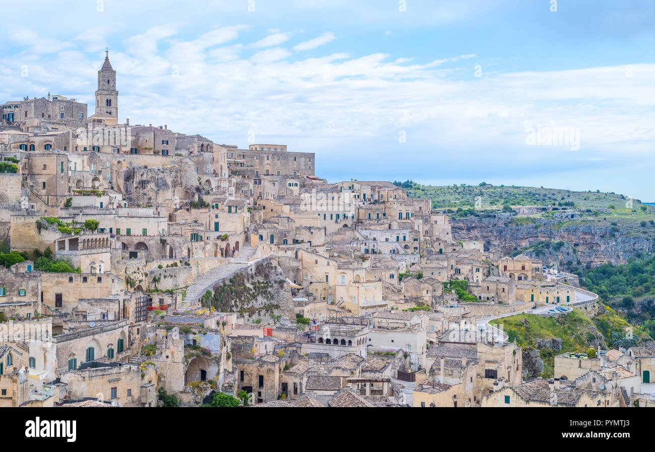 Matera, Italy, panoramic view of the old town of Sassi, former prehistoric troglodyte settlements - Stock Image