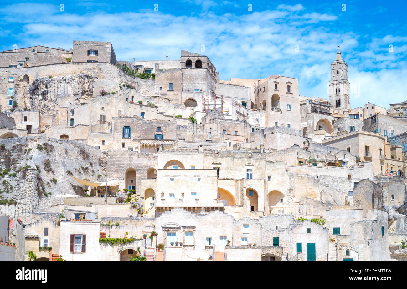 Matera, Italy, old town,  the architectures of the Sasso Caveoso area, former prehistoric troglodyte settlements - Stock Image