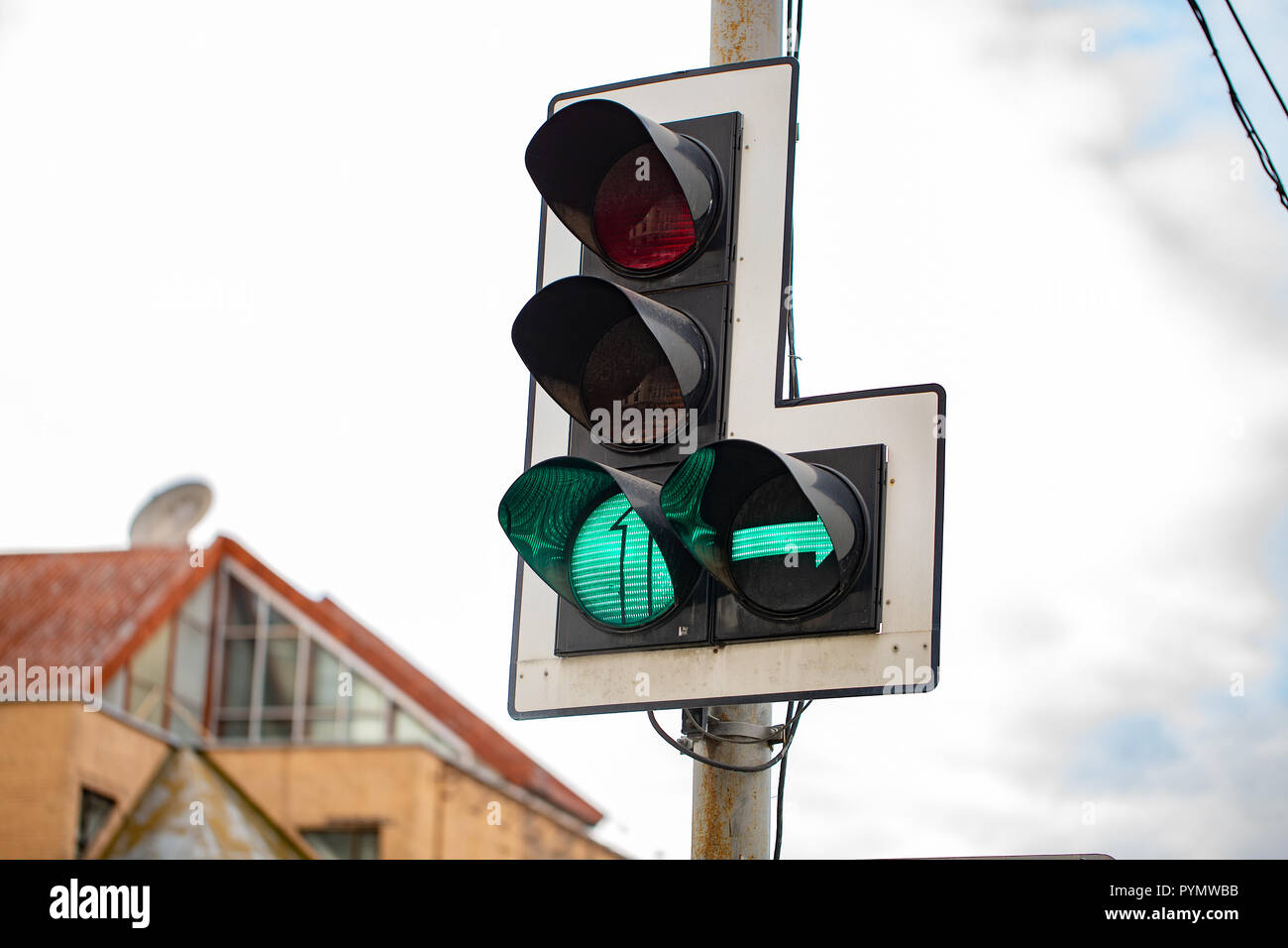 Traffic lights with right arrow. traffic light with green - Stock Image