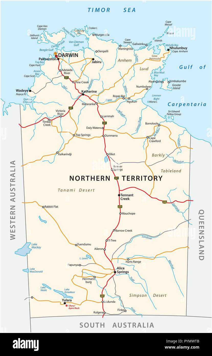 Road Map Australia.Vector Road Map Of The Northern Territory Australia Stock Vector