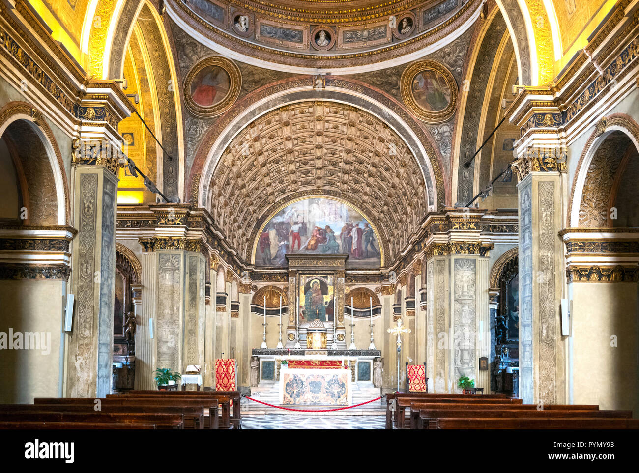 Milan, Italy, The S.Maria in S. Satiro church, the central nave with the famous fake perspective chorus by Bramante in the background - Stock Image