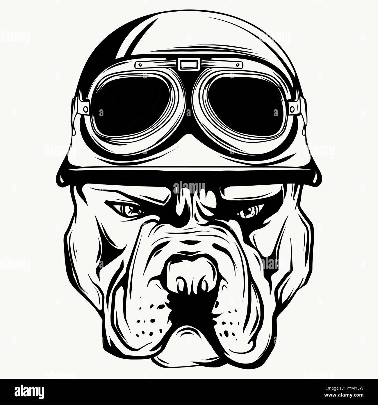 Vector face of bulldog biker with helmet. Motorcycle rider illustration. Shirt graphics. - Stock Vector