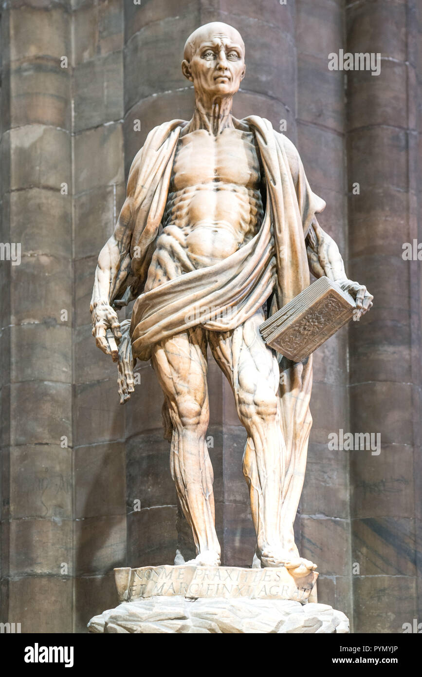Milan, Italy, The interior of the Duomo Cathedral, the statue of St. Bartolomeo skinned, by Marco D'Agrate - Stock Image