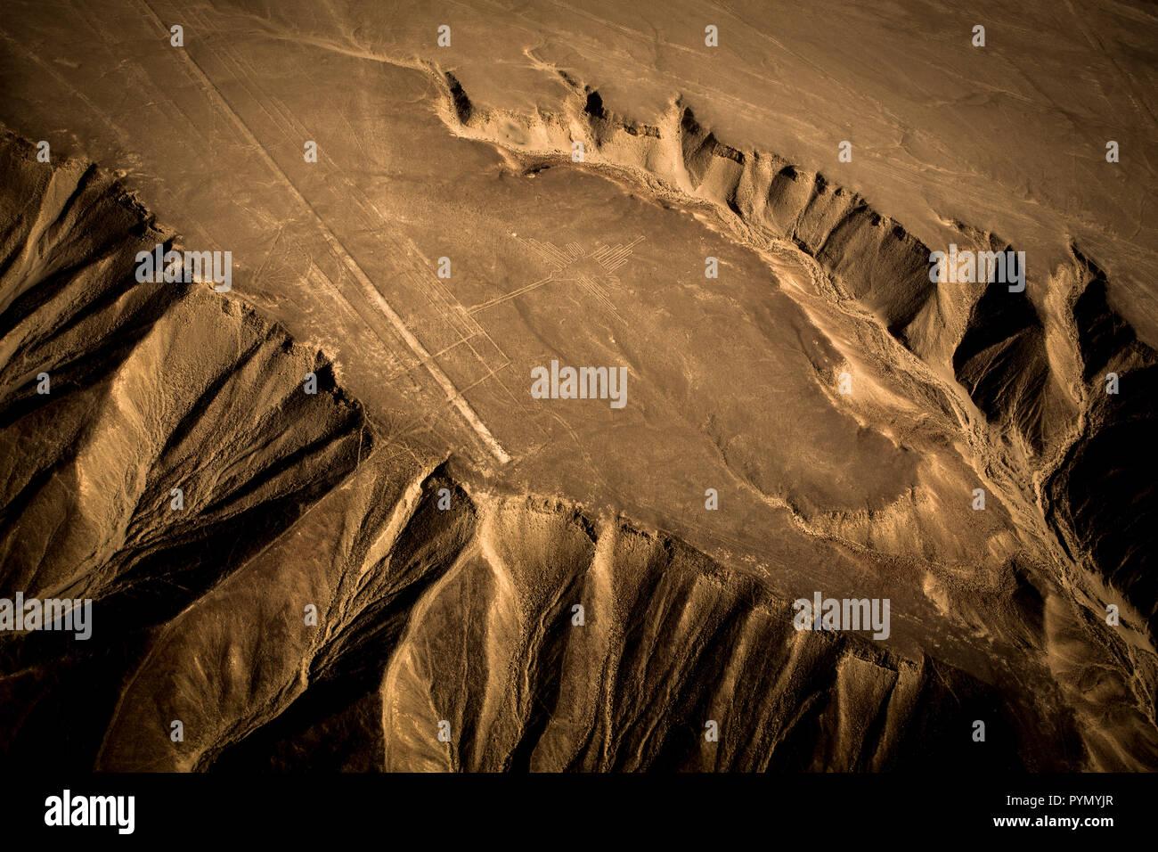 Blick von oben auf die Nazca Linien in Peru, Nazca, Südamerika Stock Photo