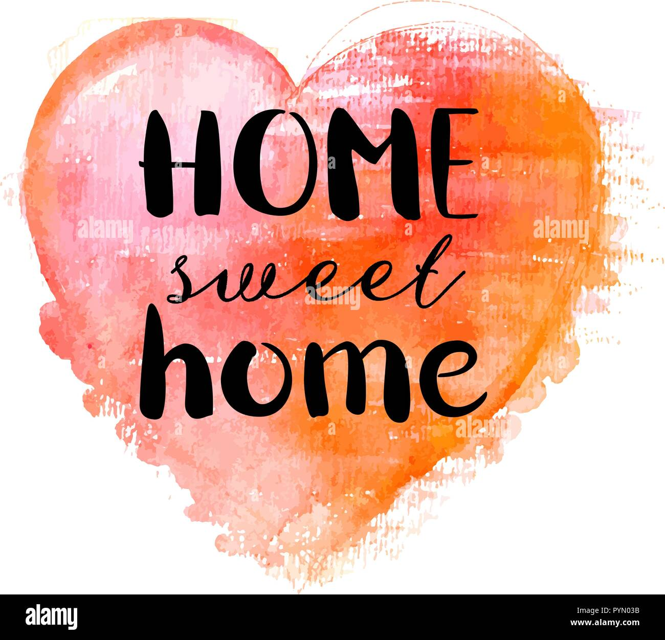 Home Sweet Home, a decorative design with hand drawn lettering and a watercolour heart, vector illustration - Stock Vector