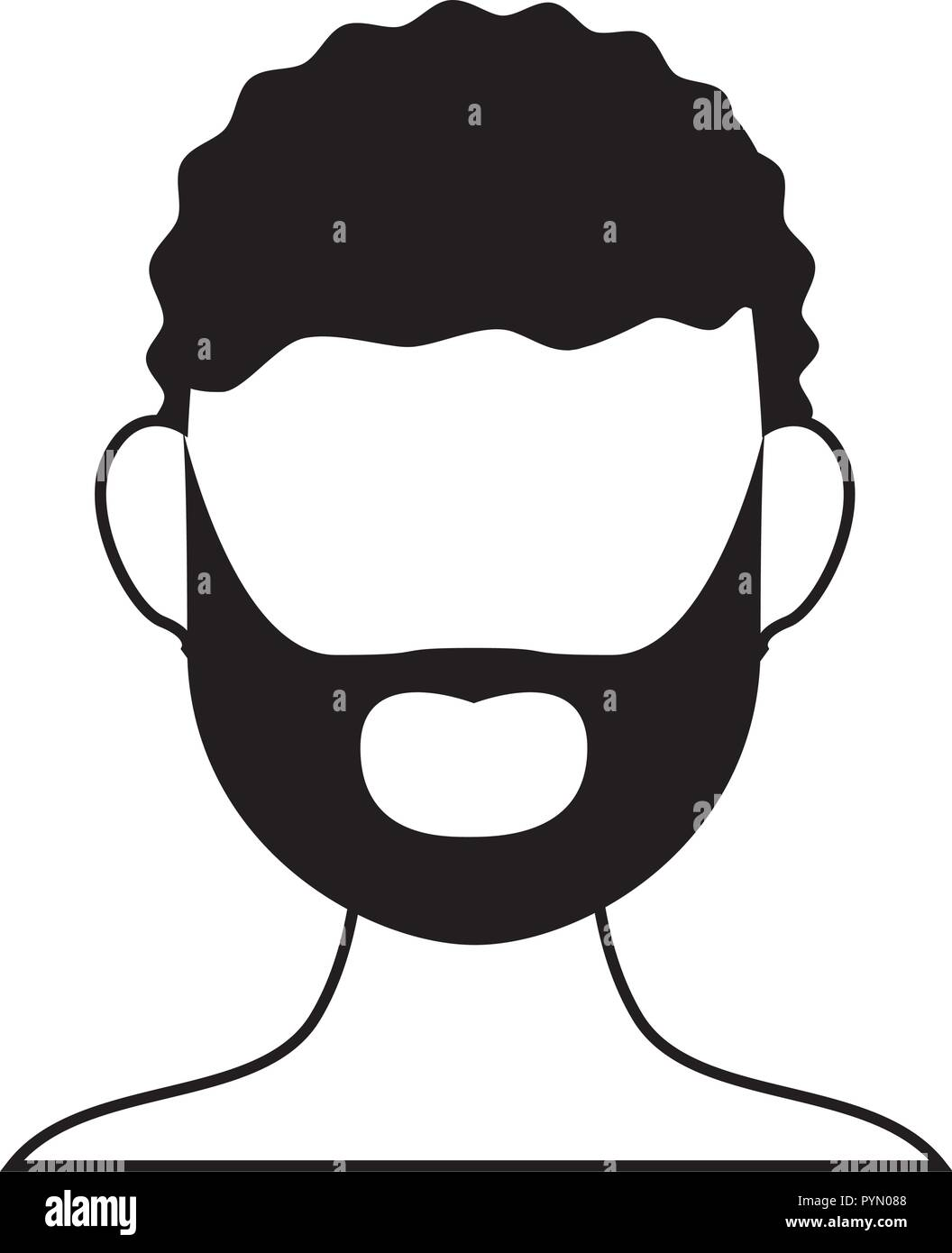 man with beard silhouette vector illustration design - Stock Vector