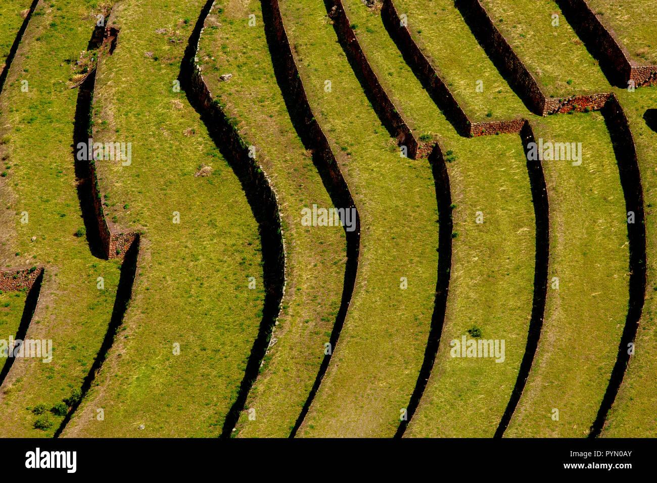Altertümliche Anbaumethode der Inka für Lebensmittel , Terrassen , in Peru , Südamerika - Stock Image
