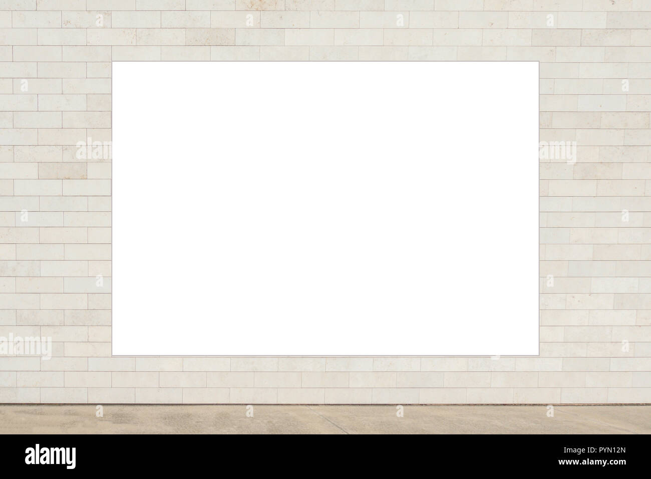 Mock up. Blank vertical billboard, poster frame, advertising on the the wall - Stock Image