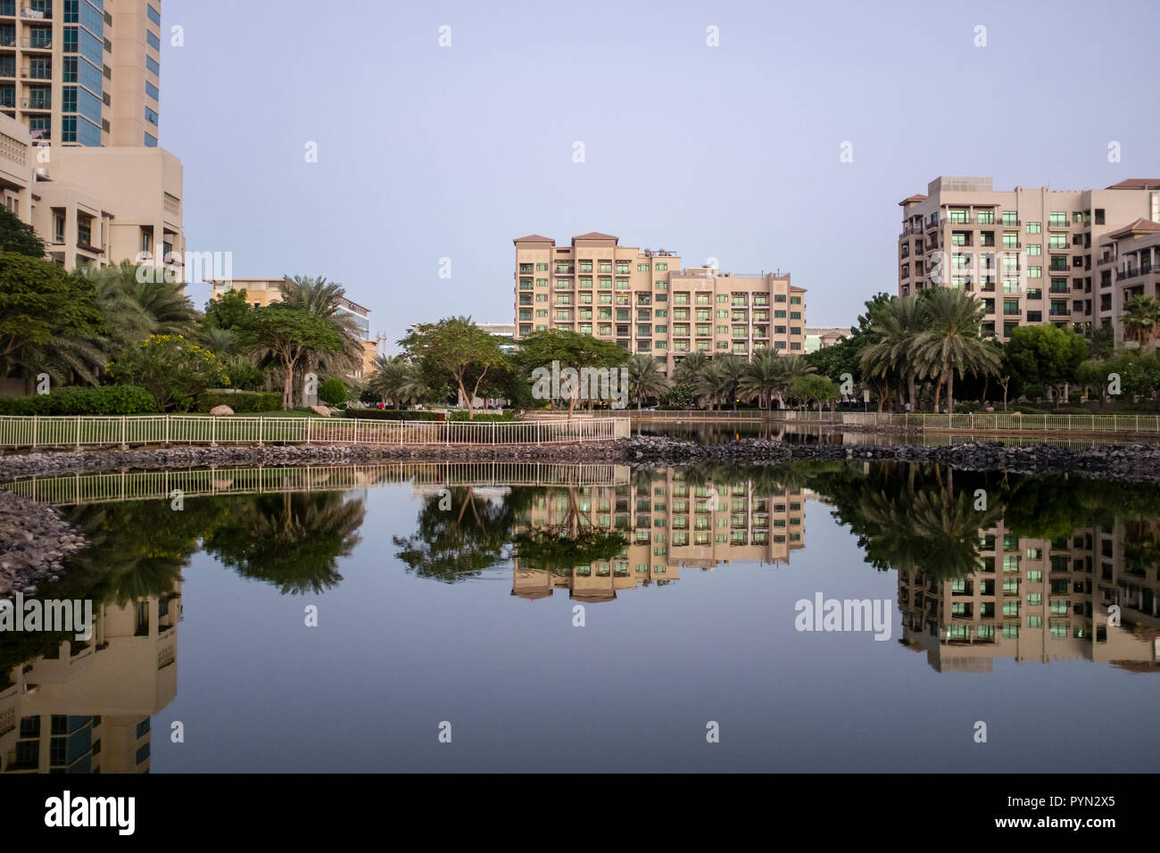 Manmade lake and residential apartments in The Greens